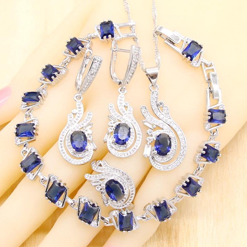 Royal Blue Crystal Crystal Color Color Украшения Наборы для Женщин Браслет Серьги Серьги Ожерелье Подвеска Подарок на день рождения
