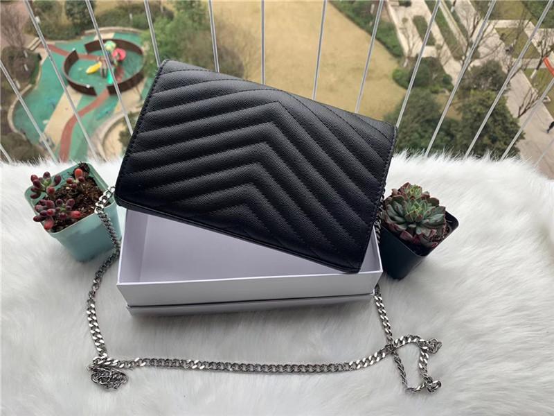 Tasche Brieftasche PU Leder Geldbörsen Freizeit Messenger Hohe Frauen Schulter mit Qualitätskette Silber Taschen Handtaschen Staub Naqmm