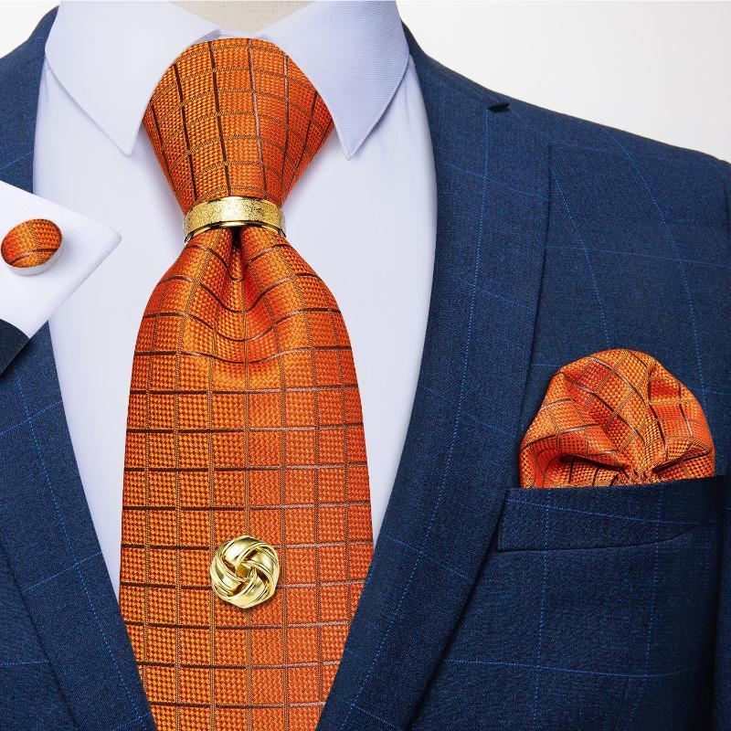 Papilloni Arancione Arancione Arancione Arancione Tie per uomo 8cm Seta Jacquard Cravatta Handkerchief Tack Set Regalo per uomo Gravata Corbatas Dibangu