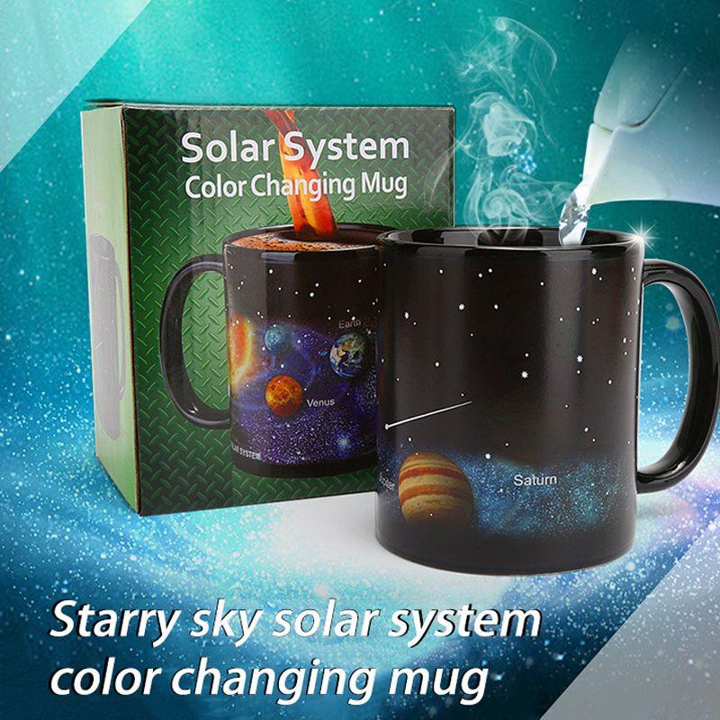 Colore ceramico creativo che cambia calore che cambia il calore che rivela gli amici del caffè degli amici del regalo della prima colazione tazza della stella del sistema solare della stella Q1218
