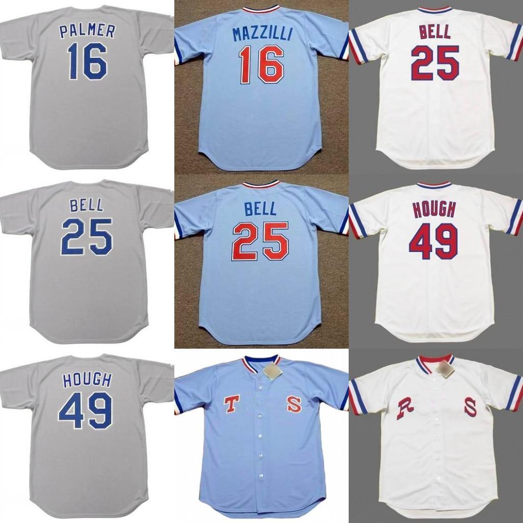 Мужчины 16 DEAN Palmer 25 Bucddy Bell 49 Charlie Hough Texas 1980 S Бейсбол Джерси