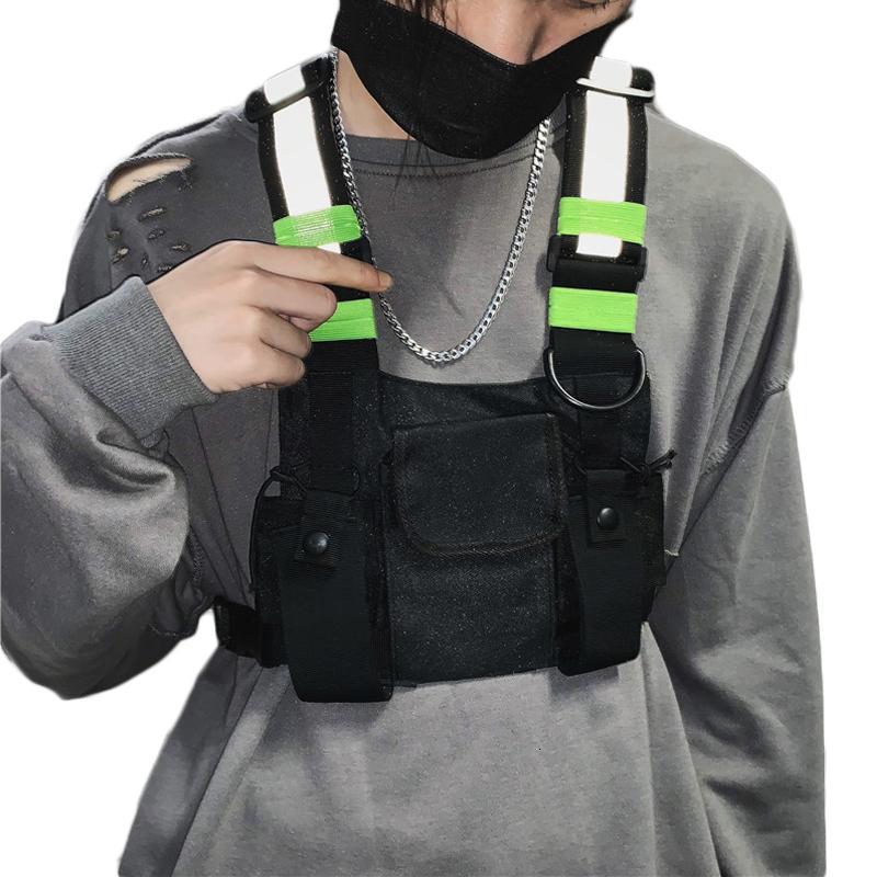 Masculina funcional Kanye Hip Hop Black Chaleco Bolsa Mujer Tactical Streetwear Bolsos Paquetes de cintura femenina Moda Hombres Ráfaga de pecho Bolso G131