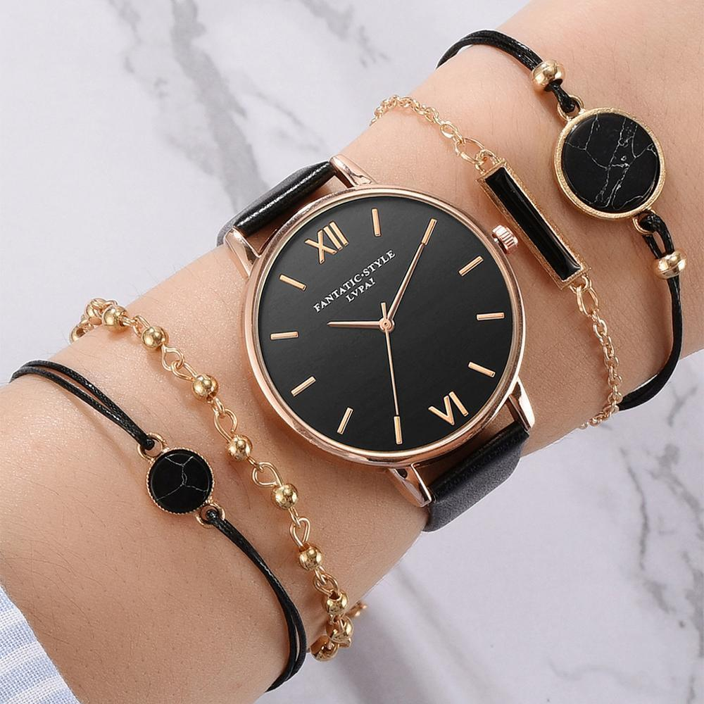 Moda senhoras pulseira relógios simples minimalismo design casual fêmea relógios de pulso 5 pcs presente para womens clock j1205