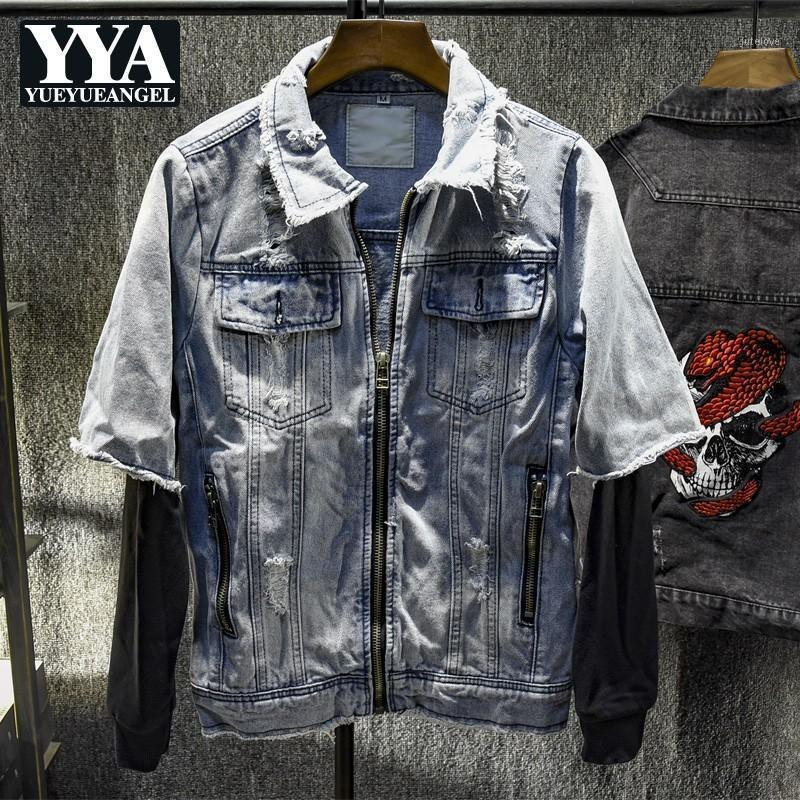 Harajuku Spring Autumn New Fake Two Pieces Mens Denim Jackets Long Sleeve Zipper Lapel Hole Ripped Male Casual Outerwear Coats1