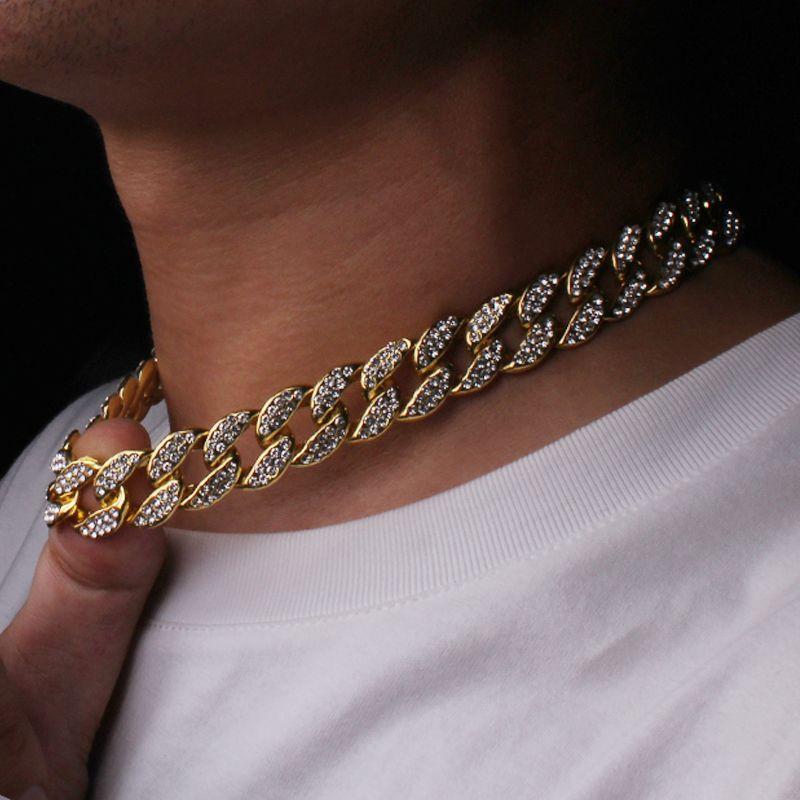 Hip Hop Bling Bling Catene di moda Gioielli Mens Gold Silver Miami Cuban Collane a catena di collegamento Diamond Iced Out Chian Collane