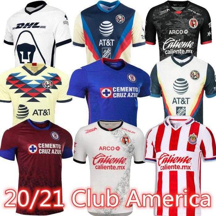 Novo 20 21 Club América Futebol Jerseys 2020 2021 Xolos de Tijuana Tigres Unam Guadalajara Chivas Cruz Azul Kit Jersey Camisas