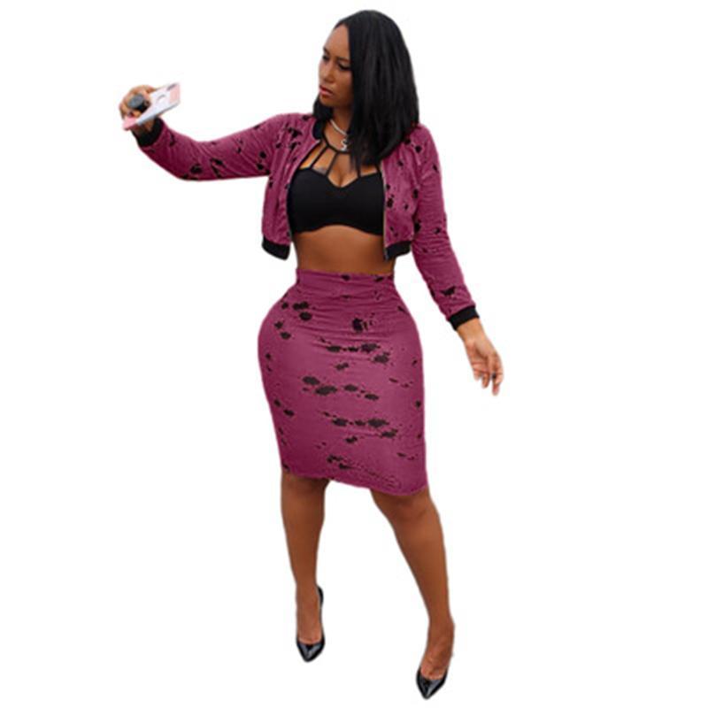 Damas Dos piezas Vestido de moda Tinta Splash Tinta Cardigan Cremallera de manga larga Tops cortos Falda Conjuntos Diseñador Femenino Otoño Casual Slim Sets
