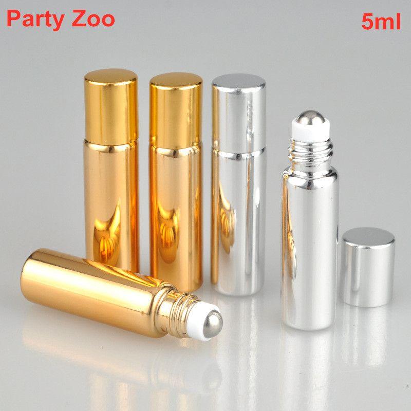 500 x 5ml 상향 골드 / 실버 UV 코팅 유리 롤 - 온 향수 샘플 병 공 강철 롤러 에센셜 오일 항아리