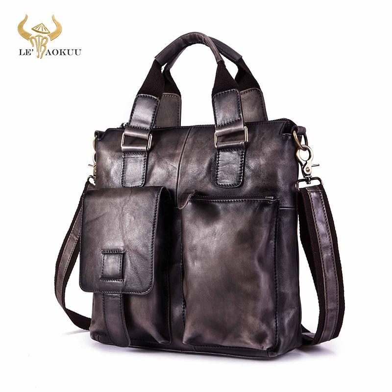 "Men Original Leather Fahion Maletas Business Briefcase 12"" Laptop Case Attache Portfolio Tote Maletin Messenger Bag b259-dd Q0112"