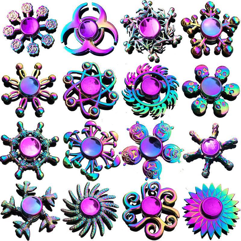 Wholesale fidget spinner brinquedo liga de zinco hand spinners dedo fingertip gyro girando top decompressão ansiedade brinquedos muitos estilos misturados