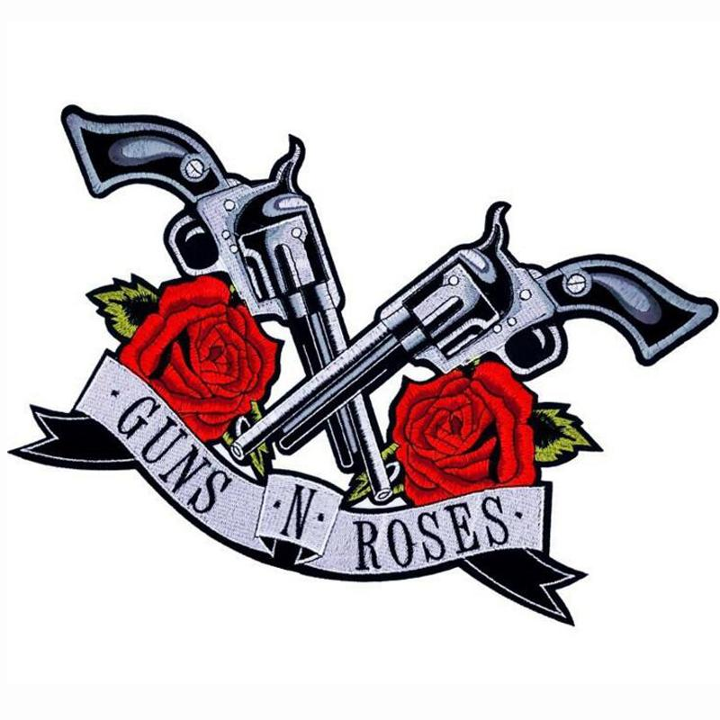 Rose y pistola parches Plancha en ropa Ropa Accesorios Bordados Parches Etiqueta Aplique Accessories Striques Apliques Paño Punk Patch