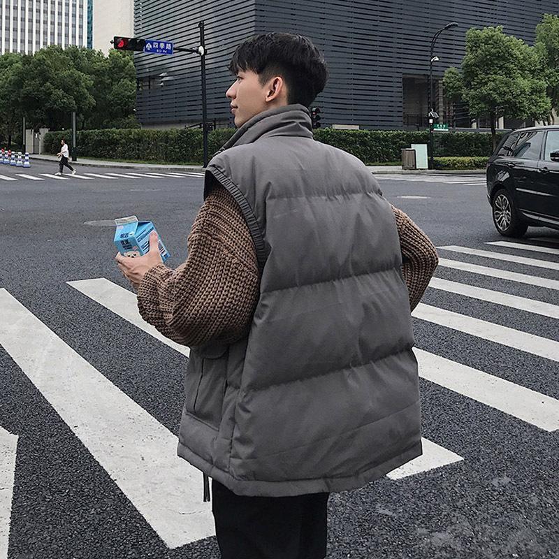 Baumwollgepolsterte Weste männlich Hongkong-Stil Herbst Freizeit Lose Weste Warmmantel Koreaner Trendy, intelligentes und allaftes Cotton
