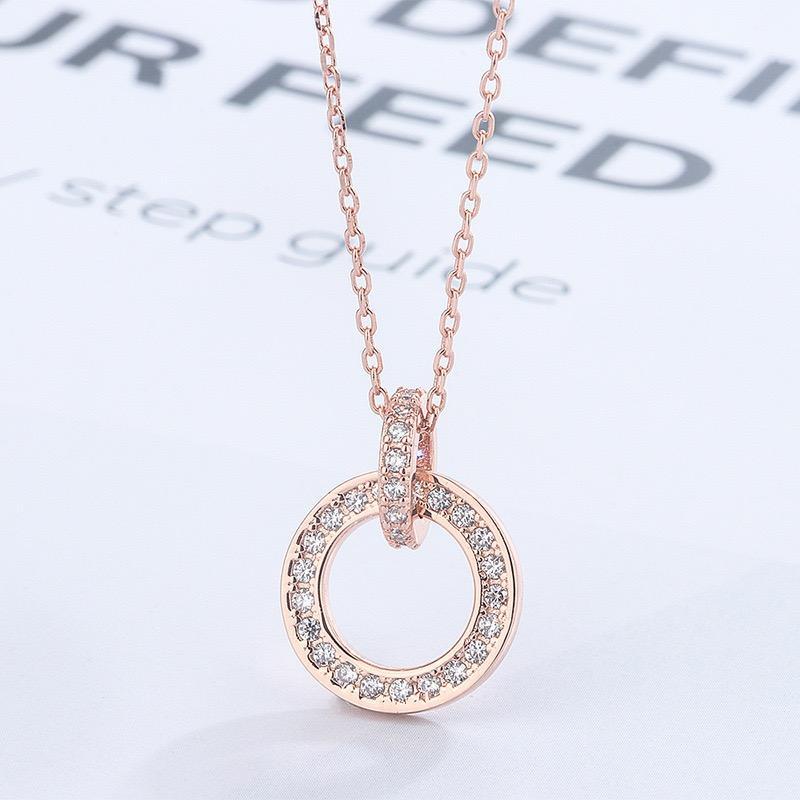 Новый раунд алмазный кулон ожерелье ключицы женской моды темперамент дикий ожерелье стерлингового серебра не аллергический и не выгорает весь