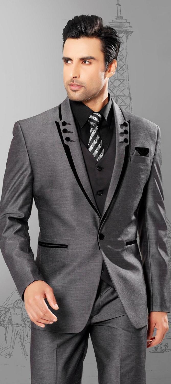 Men's Suits & Blazers Grey Handsome Costume Homme Terno Masculino Men Suit 3Pieces(Jacket+Pant+Vest+Tie) Tuxdeo For Wedding Blazer 458