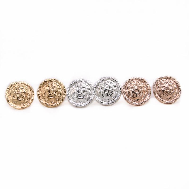 New Round Stud Earring Creative design Hammer point surface design Gold Silver Rose Three Color Optional For Women