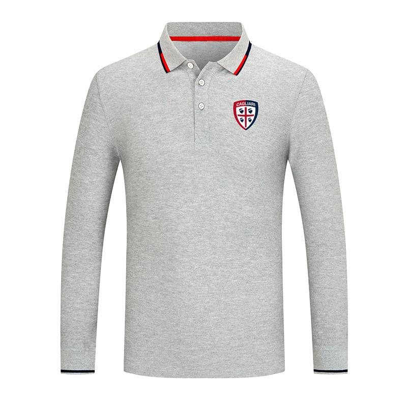 2021 Cagliari Nueva manga larga para el polo de la solapa de la solapa de la solapa del algodón de la camisa del polo de los hombres casuales de la alta calidad de la serie de golf