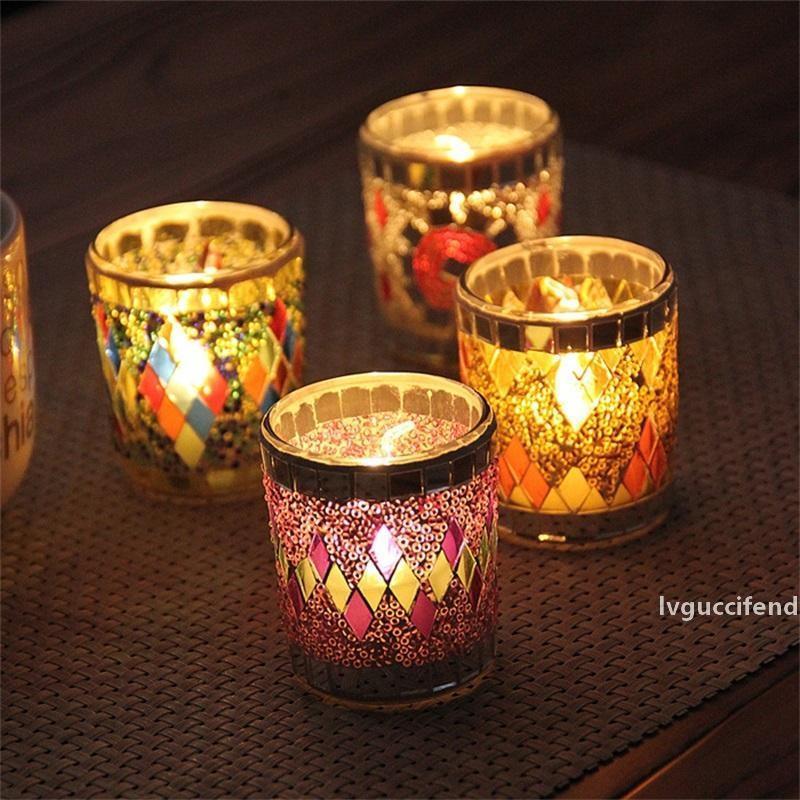 Mosaïque classique Mosaïque Petite Coupe Forme De Cuisselle Romantique Colorée Crack pour la décoration de la maison Cadeaux de mariage Cadeaux Bougies 7ZB Z