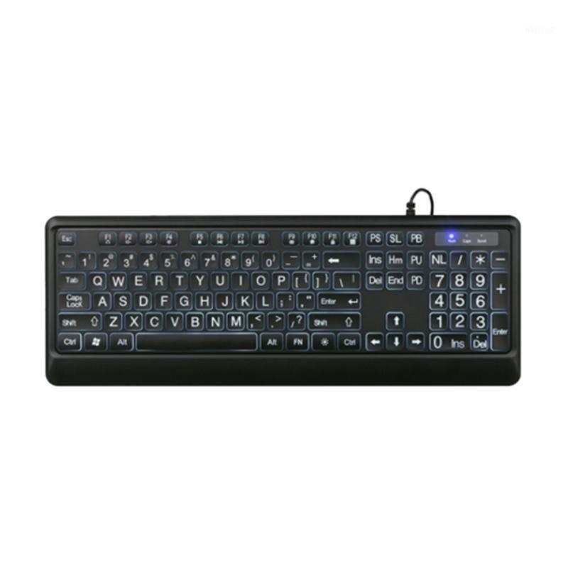 Tastiera cablata, tastiera illuminata, retroilluminazione del carattere grande per proteggere la vista, per internet café, scuole, aziende11