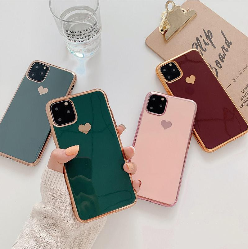 Galvanizados coração amor telefone iPhone para o caso 11 11Pro Max XR XS X XS Max 7 8 6 6S Além disso, à prova de choque capa protetora