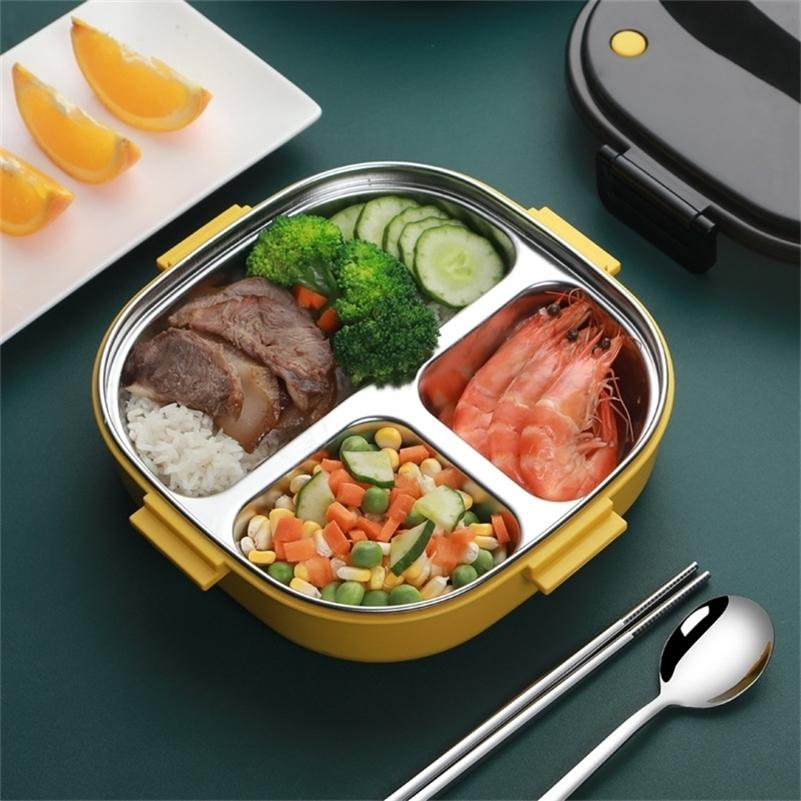 TUUTTH Aço Inoxidável PP Lunch Box Microondas Separe Bento Caixa Handle Portátil Recipiente de Alimentos Escola 201210