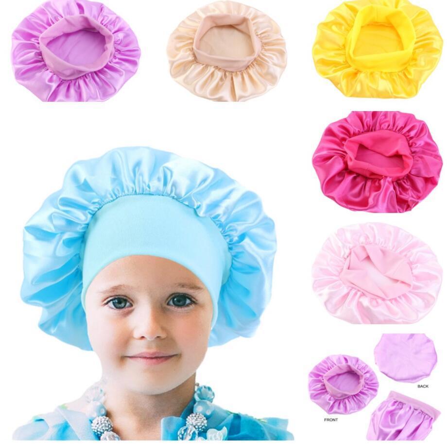 Çocuklar Katı Renk Bonnet Kız Saten Gece Uyku Duş Kap Saç Bakımı Yumuşak Kap Kafa Kapak Wrap Beanies Kafatası Kap 1-6Y Bebek Satış için BWE2980