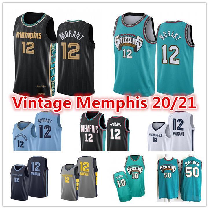 2021 JA 12 Morant Jersey Herren Vintage VancouverMemphisGrizzlies 10 Mike Bibby Abdur-Rahim 50 Reeves Shorts City Basketball Jersey