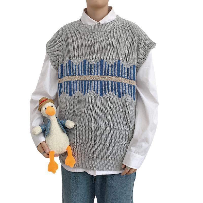 Herren O-Neck Pullover Weste Sleeveless Print Geräumige weiche hohe Qualität Nein yq Kleidung gestrickter lässig männlicher Pullover Drop Shipping