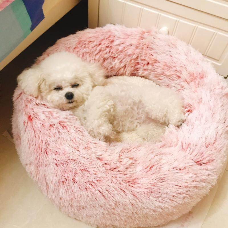 Cama para perros de mascotas Pellejo cálido Perro redondo Casa Casa Larga Peluche Mascotas Camas para perros Medianos Gatos Cojines suaves