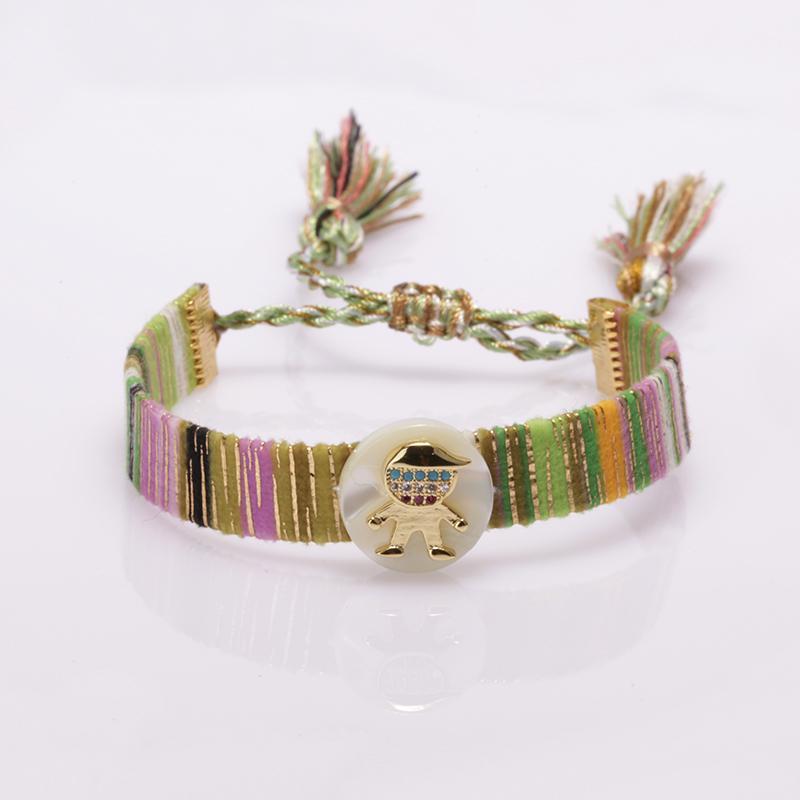 5 teile / los klein junge mädchen kind bild gold charme ethnische böhmen weiche baumwolle seide quaste armband einstellbar armband für frau z1124