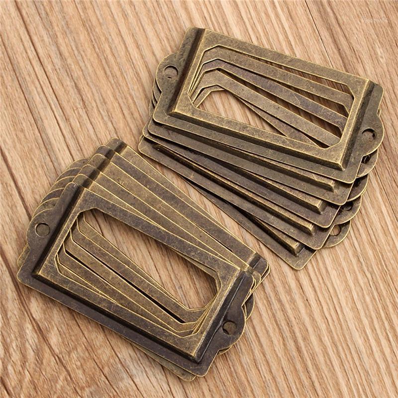 12 шт. Металлическая этикетка тяги кадра ручка фоторама античный латунный файл визитная карточка держатель дома украшения1