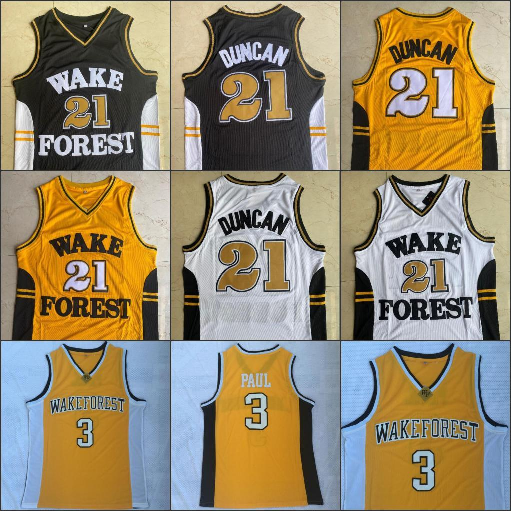 NCAA WACKFOREST 21TIM Duncan Chris 3 Paul Demon Deacons College Herren Basketball genähte Trikots Top Qualität Weiß Schwarz Gelb S-2XL