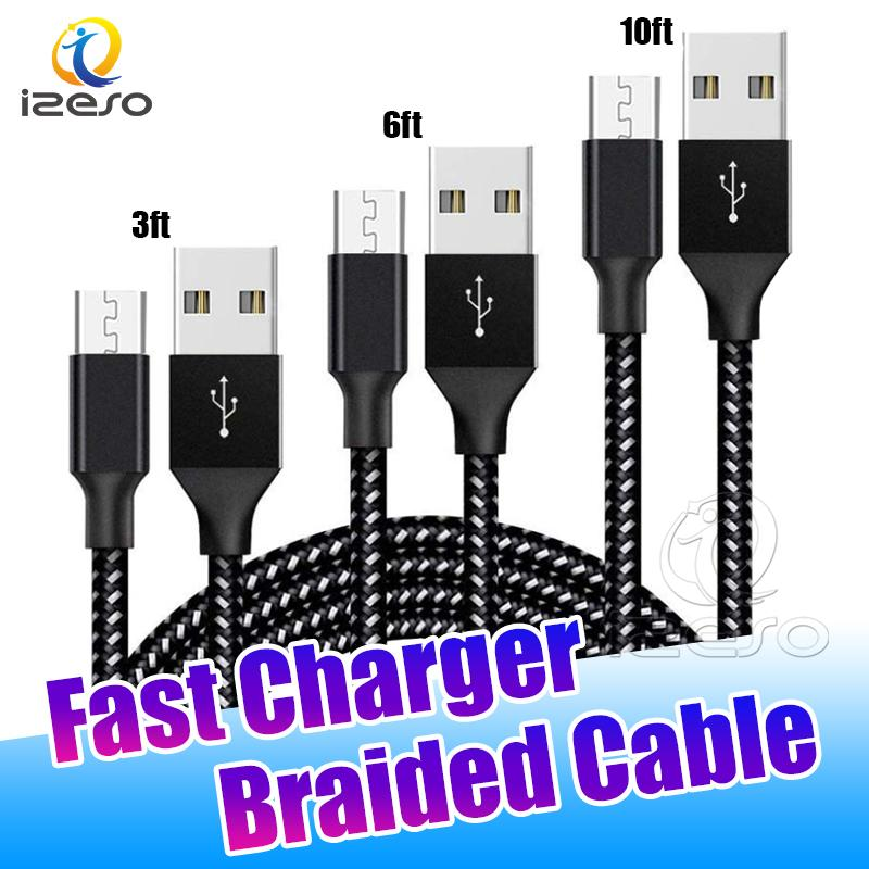Type C Cable USB C Fast Charger Braided Cables Wire 3FT 6FT 10FT Quick Charging Cord for Samsung Galaxy S10 Plus Huawei izeso