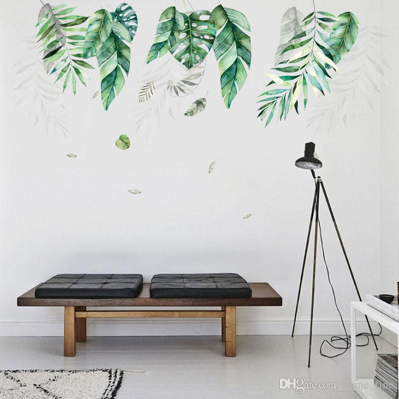 Северный стиль тропических растений оставляет наклейки на стены для гостиной спальня экологически чистые наклейки на стене арт плакат домашний декор