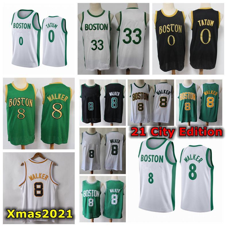2021 Mens Kemba Walker Swingman Jersey authentique Citched Citched City Bostonian Edition Kemba 8 Walker 0 Tatum Basketball Jersey avec Logo Tags