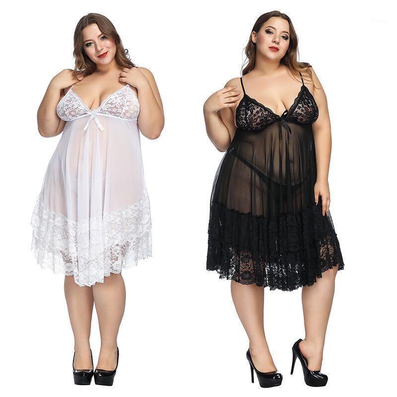 Женские спящие одежды Top Fashion Sexy Nightdress плюс размер пижамы женские домашние европейские и американские белье черный красный белый1