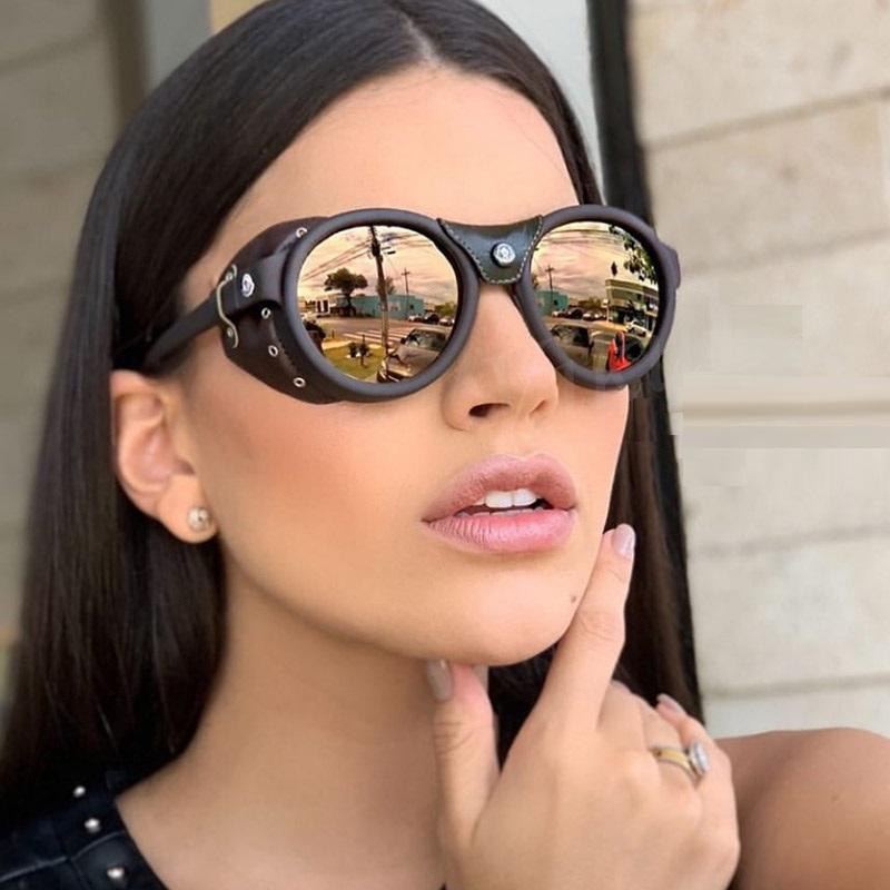 Hombres de gran tamaño Sombreros Steampunk Retro Mujeres de lujo Gafas de sol de alta calidad Nuevo Remache Gafas de sol Escudo Piloto Lado Lado Vintage Pwxrk
