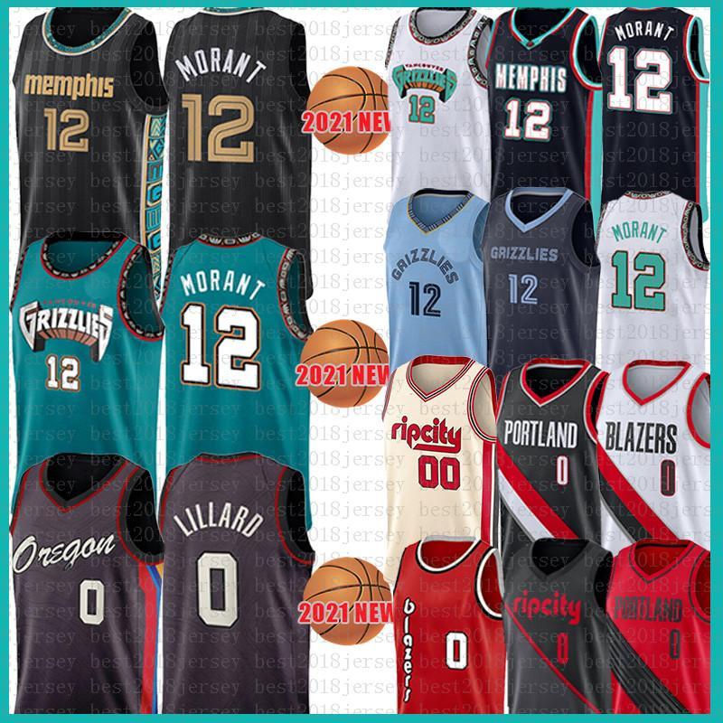Jovem juventude Jave Ja 12 Morant Damian 0 Lillard Basketball Jersey Carmelo 00 Anthony 2021 New Black Jerseys Malha Retro