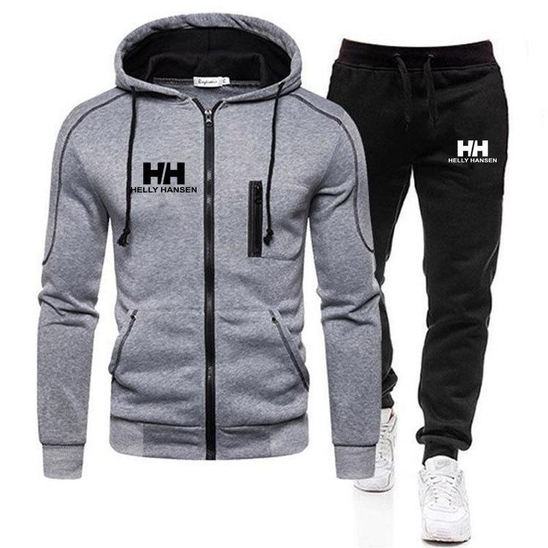 2020 Spring and Herf HH Marque Hommes 2 Taille 3XL Tops Tops Rits Cap + Outdoor Broek Sports Vêtements Ensemble de vêtements