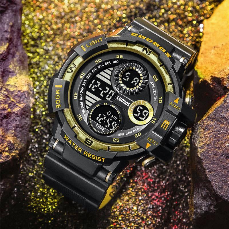 새로운 학생 대형 스크린 황금 패션 전자 시계 물 저항 알람 시계 두 번째 기능 시계 남자의 noctilucent 시계
