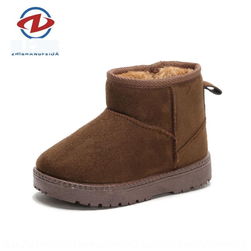 XIC0 Çocuklar Boy Girlshoes Boot Sıcak Kış Kürk Lined Toddler Danteller Bovver Su Geçirmez Kaymaz Dantel-up Sentetik Deri Kar Ayak Bileği Bo