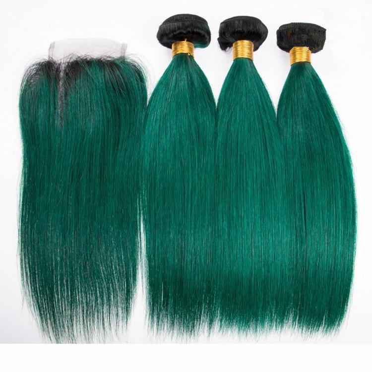 Черно-темно-зеленый омбре бразильские человеческие волосы плетены с верхним закрытием прямые # 1b зеленые волосы девственницы ambre 3 ° С 4x4 кружевной закрытием