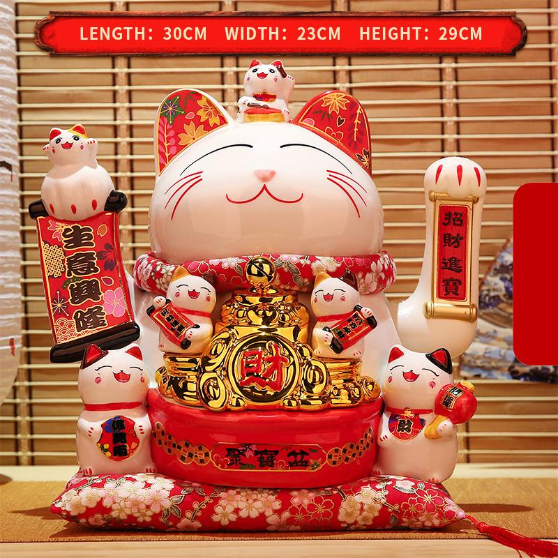 Cinese fortunato gatto ricchezza ondeggiamento mano gatto oro maneki neko carino casa fengshui decorazione benvenuto gatto artigianato art negozio decorazione dell'hotel