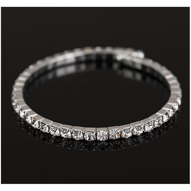 Envío gratis New Women's / Girl Fashion Sliver Llenada Limpiado Austrian Crystal Bracelets Bangles Sqcigo Beauty888