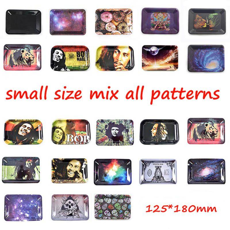 Rollwannen Bob Marley Tablett 18 * 12,5 * 1,5 cm Metall für Rohre Papiere mischen Muster Blatt Raucher