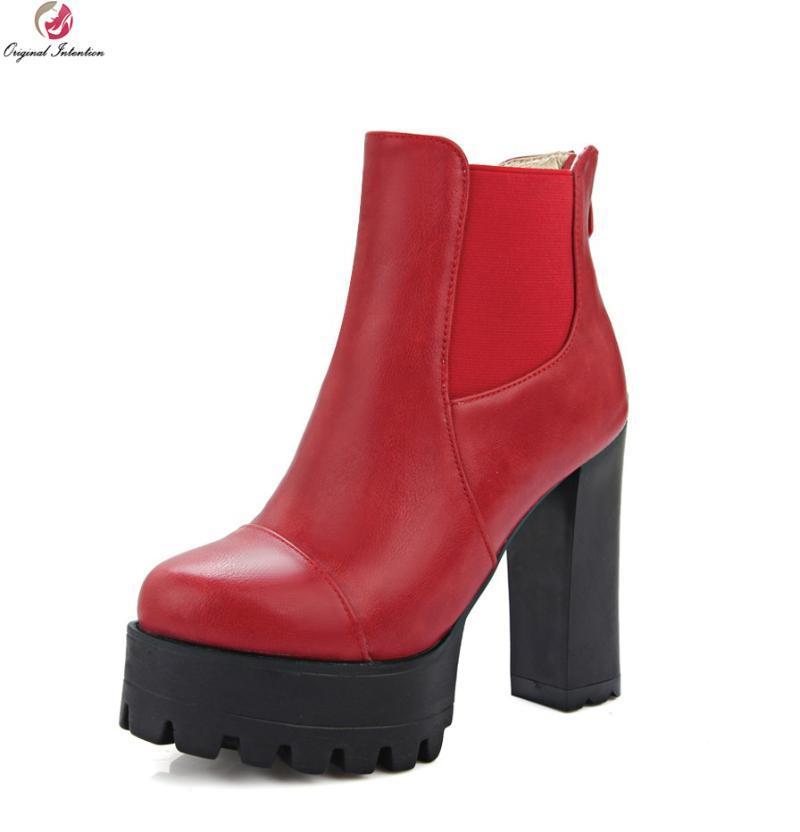 Botas de la intención original de las mujeres de alta calidad de las mujeres del tobillo redondo del tacón cuadrado de los zapatos rojos grises negros de la mujer Tamaño de los EE. UU. 3.5-10.5