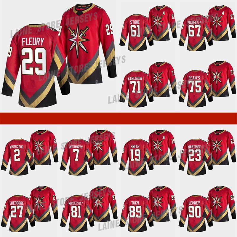 Vegas Golden Knights 2021 Reverse Retro Jersey 61 Mark Stone 29 Marc-Andre Fleury 71William Karlsson 7 Pietrangelo 75 Reves Hockey Jerseys