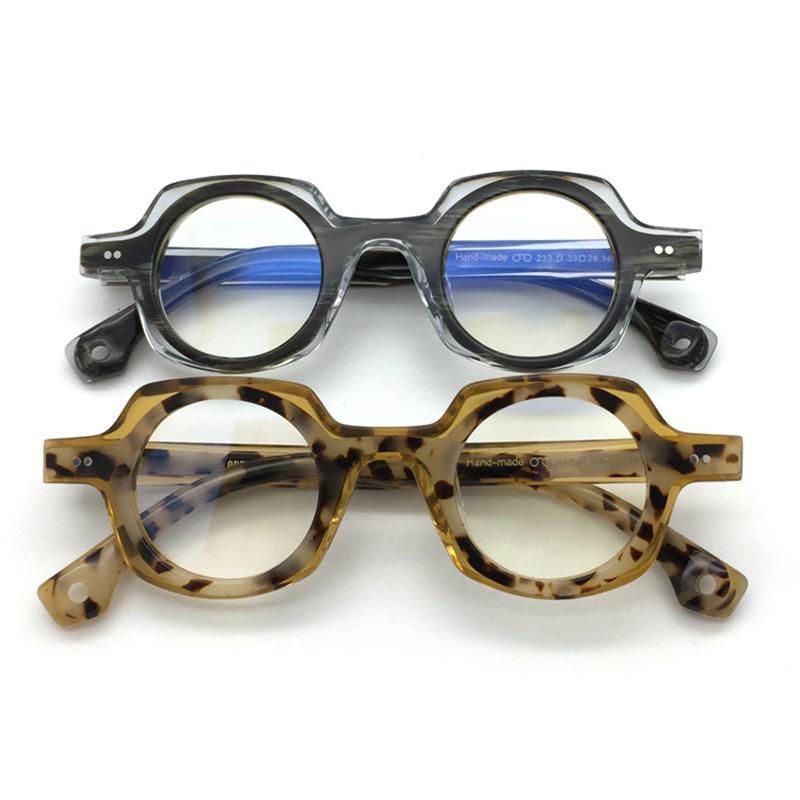 Acetat-Glas-Rahmen Männer Frauen Weinlese-runde Brillen Optische Myopie Brillenfassungen Mann Klar Brillen Spectalces Oculos