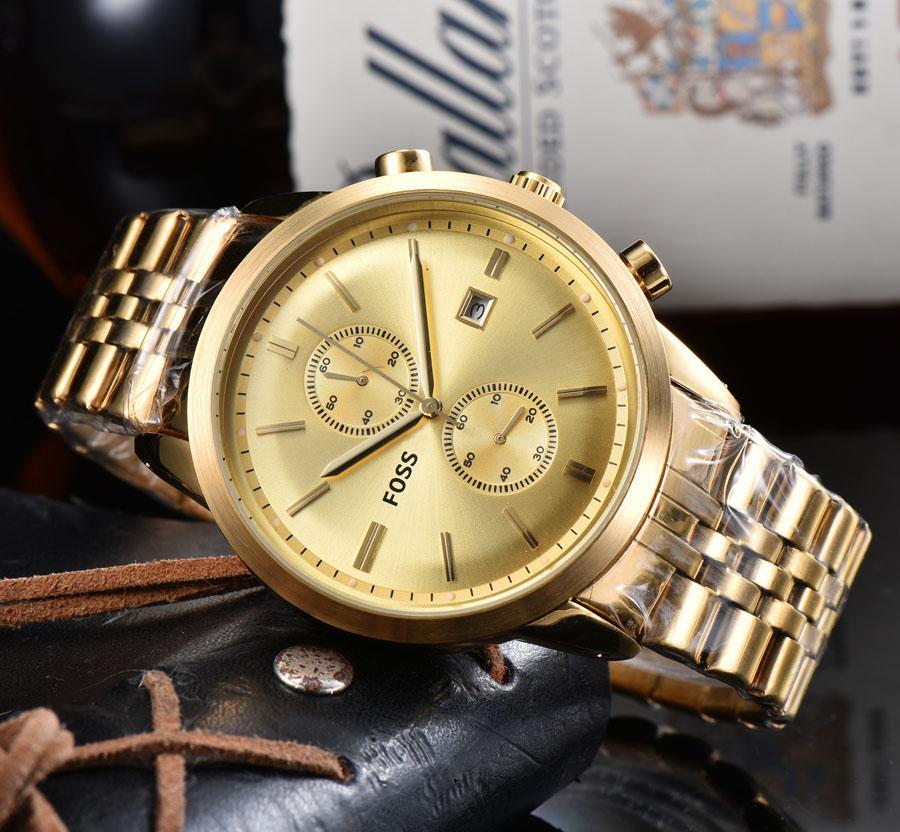 pulsera de cuarzo reloj de los hombres de la marca FOSS 2 diales pueden trabajar de línea estilo de la banda de metal de acero multifunción Relojes FO14