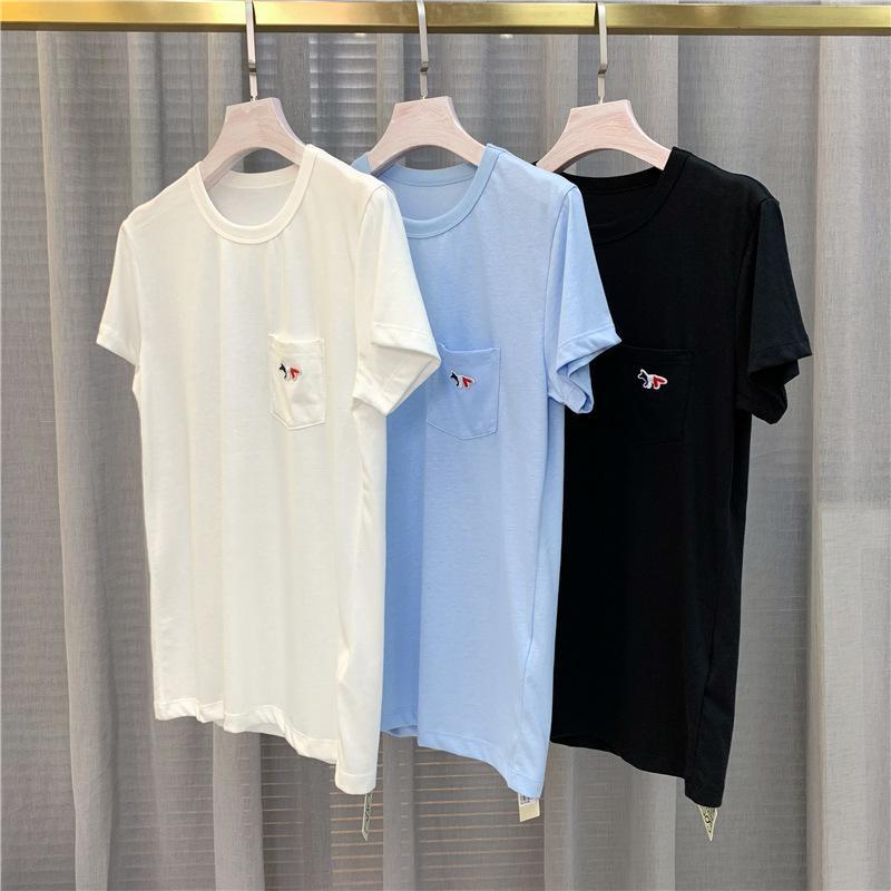 Été Nouveau mode Polyatile Loisirs Temps de poche classique Top de poche classique FOOCH BRODERIE PURE COTON PURE T-shirt à manches courtes X1217