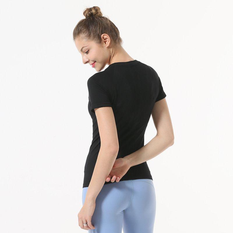 المرأة T-Shirt ملابس قمم اليوغا البدلة الرياضية شبكة الربط السريع تجفيف قصيرة الأكمام اللياقة البدنية متعدد الألوان أعلى الأرجواني أسود أبيض